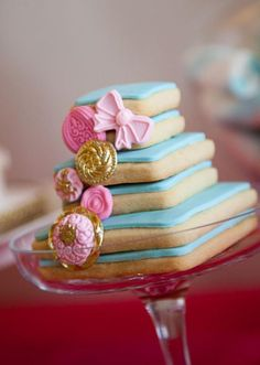 Love these mini stacked cookie cakes!!  Cinderella Princess Party via Kara's Party Ideas | KarasPartyIdeas.com #cinderella #princessparty  #karaspartyideas #partyideas