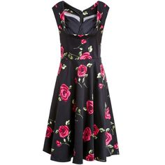 Vintage Rose Printed Sweetheart Neck Sleeveless Ball Gown Dress For Women #CLICK! #clothing, #shoes, #jewelry, #women, #men, #hats