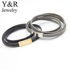 Stainless Steel Gold Magnetic Buckle Brown Leather Bracelet Mens Wrap Braided Leather Bracelet