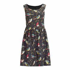 Pretty Novelty Print Dresses:  Cath Kidston Multicolor Woodland Forest Garden Birds Dress.