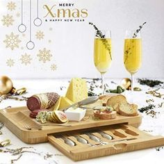 Premium Cheese Board & Utensils Gift Set – Extensive Serving Set –X- Large Bamboo Board & 6 Stainless Steel Cheese Knives & 6 Appetizer Forks & 3 Ceramic (silver, with cermic dishes). Cheese Board Set, Bamboo Board, Types Of Cheese, Food Platters, Dish Sets, Appetizers, Appetizer Dessert, Merry Xmas, Charcuterie
