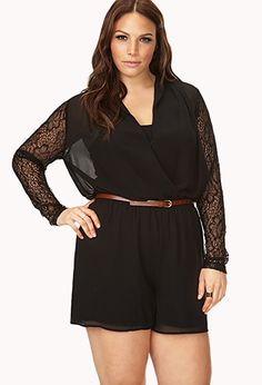 Bombshell Surplice Lace Romper | Im down with this..for real..add textured tights and booties or boots...and Boom...Hotness...
