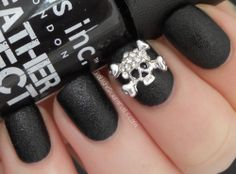 Rock and roll mani!  Polished Criminails: Swatch: Nails Inc Bling It On - Leather & Skulls