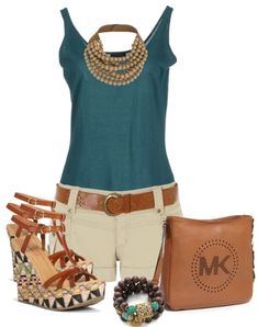 Dark blue blouse, brown shorts and high heel sandals for ladies