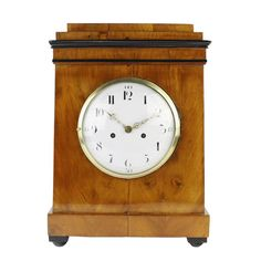 19th Century Biedermeier Period Table/Desk Clock, Enamel Dial | From a unique collection of antique and modern clocks at https://www.1stdibs.com/furniture/decorative-objects/clocks/