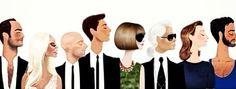 Tom Ford, Donatella Versace, Stefano Gabbanna, Domenico Dolce, Anna Wintour, Karl Lagerfeld, Miuccia Prada,  Marc Jacobs
