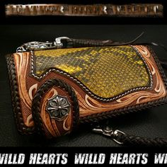 Biker wallet/Python/carving wallet/Leather/WILD HEARTS/ワイルドハーツ