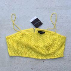 Topshop Crochet Crop Top Fun bright yellow color! Lace detail in front. Zipper back. Topshop Tops Crop Tops