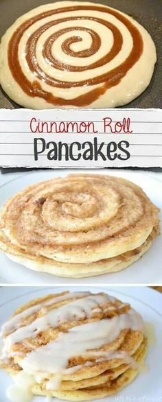 """⭐️⭐️⭐️⭐️CINNAMON ROLL PANCAKES - """"Get in there"""" with the tip of the swirl bag so that batter partially covers the swirl. When you flip, this will keep all of your swirl from melting out of your pancake to burn on the pan. Plenty sweet enough to eat without the glaze."""