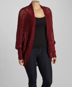 Another great find on #zulily! Burgundy Crochet Open Cardigan - Plus #zulilyfinds
