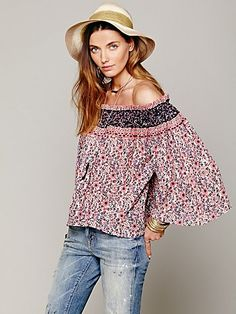 Free People Printed Off Shoulder Blouse. I love the blouse, but I could do without the hat to go with it.