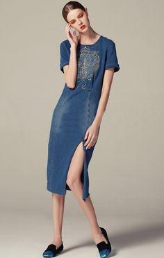 Embroidered Split  Denim Dress