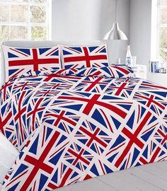 Union Jack Red Printed Duvet Quilt Cover Bedding Set — Linens Range