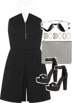Outfit for clubbing with a striped clutch by ferned featuring
