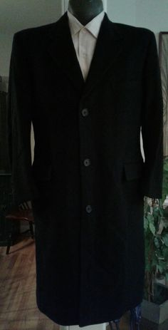 Brooks Brothers Wool/Cashmere Blend Overcoat 40 Small Made In USA Midnight Blue | eBay