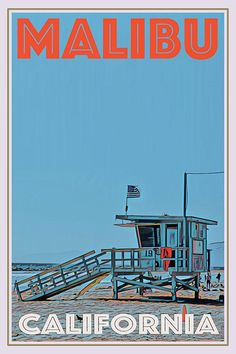 Vintage poster of Malibu Beach lifeguard California - Buy a poster online - all the world's most amazing places - retro poster - custom poster - worldwide shipping - affiche vintage - affiche retro Arte Peculiar, Vintage Illustration Art, Vintage Travel Posters, Vintage Ski, Usa Holidays, Malibu Beaches, Malibu California, City Aesthetic, Aesthetic Pictures