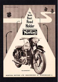 AUGUST 1954 NORTON DOMINATOR MODEL 7 MOTORCYCLE,500 TWIN. MAGAZINE ADVERT.