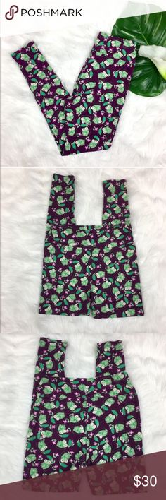 LuLaRoe Frog Leggings LuLaRoe frog leggings. These are been a major rare unicorn! One size. Pre-owned condition with some basic wash fading and light piling. Between the legs is in great condition. No holes no tears. Washed per LuLaRoe instructions.  ❌I do not Trade 🙅🏻 Or model💲 Posh Transactions ONLY LuLaRoe Pants Leggings