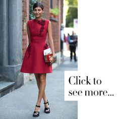 Street Style: Milan Fashion Week Spring 2014. What a great holiday dress.