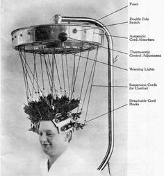 An Icall permanent waving machine from 1934. (Photo: Louis Calvete/CC BY-SA 3.0) The Alarming Aesthetics of Jazz Age Perm Machines   Atlas Obscura
