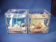 2X Seashells and Sand Scented Gel Candles Inside Glass | eBay