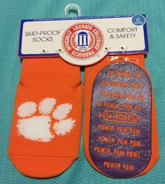 Baby Skid-proof Clemson Tigers Socks Size 6 Months #Skidders #Skidproof