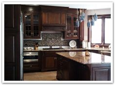 black styles and dark cherry  kitchen cabinet doors | Cherry Custom Cabinetry in a Traditional Raised Panel Door Style, and ...