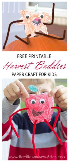 FREE Printable Harvest Buddies Paper Craft for Kids. An easy Thanksgiving or fall craft for school or home. | Fireflies and Mud Pies