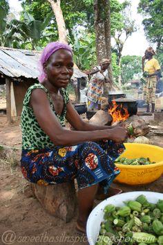 Liberian woman preparing okra sauce.