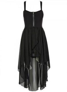 Black Chiffon High-Low Sleeveless Dress with Zipper Front,  Dress, high-low dress  chiffon, Chic