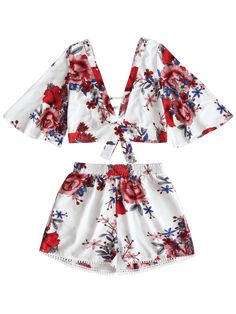 696cbe54b8ab10 latest Floral Cropped Top and Lace Trim High Waisted Shorts - WHITE L  Mobile Floral Crop