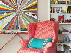 Bright colors from pegboard artwork and a wingback chair inspired this makeover #hgtvmagazine http://www.hgtv.com/decorating-basics/makeover-your-space-via-email/pictures/page-4.html?soc=pinterest
