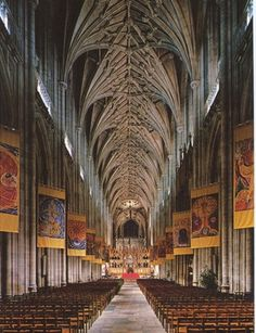 Vaulted ceiling of the Winchester Cathedral in Hampshire, England. Winchester, Cambridge Architecture, Worship Images, Worship Ideas, Renaissance, Medieval Gothic, Dome Ceiling, Cathedral Architecture, Church Banners