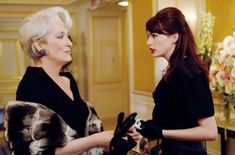 (c) 2006 Century Fox Meryl Streep as Miranda Priestly and Stephanie Szostak as Jacqueline Follet in The Devil Wears Prada Miranda Priestly, Devil Wears Prada, Anne Hathaway, Meryl Streep, Aladdin, Celebrities, Movies, Mamma Mia, David