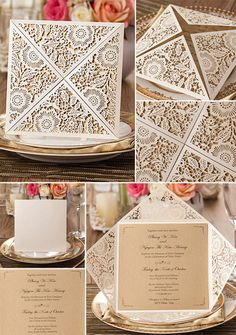 rustic elegance fall laser cut wedding invitations