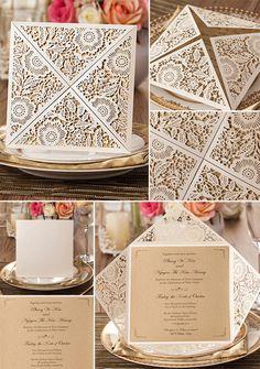 rustic elegance fall laser cut wedding invitations