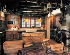Kitchen design ceiling mediterranean kitchen design with beams ceiling and wooden kitchen floor plans applied also small kitchen island ideas Wooden Kitchen Floor, Rustic Kitchen Cabinets, Kitchen Floor Plans, Primitive Kitchen, Wood Cabinets, Kitchen Appliances, Kitchen Shelves, Country Kitchen Designs, Rustic Kitchen Design