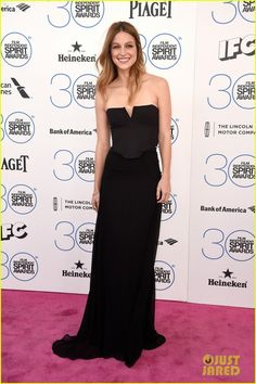 Glee's Melissa Benoist wearing a Maiyet gown and jewelry to the 2015 Independent Spirit Awards.
