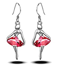 DianaL Boutique Beautiful Ballerina Dancer Earrings Pink Crystal Gift Boxed Fashion Jewelry for Girls and Women -- You can find more details by visiting the image link.