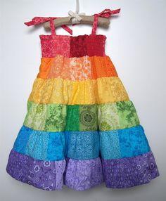Rainbow Dress - Toddler/Girls Patchwork Smocked Twirl Sundress - 12m, 18m, 2T, 3T, 4T, 5, 6, 8. $72.00, via Etsy.