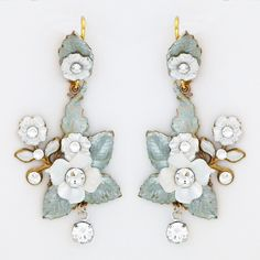 Check out the deal on Dangling Floral Wedding Earrings at Perfect Details Wedding Earrings, Wedding Jewelry, Chandelier Earrings, Dangle Earrings, Bridal Accessories, Clear Crystal, White Flowers, Floral Wedding, Floral Design