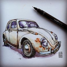 I spotted this guy, seemingly abandoned, in a parking lot earlier this summer. Thought it was a shame that I didn't have time to draw it then. Today it was still standing there, and I had exactly 20 minutes before catching a boat. Just enough time to do a quick line drawing. (1961 Volkswagen Limousine 114.) #drawing #sketching #watercolour #teckning #akvarell #vw #beetle #volkswagen #volkswagenlimousine #oldcars
