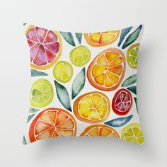 Sliced Citrus Watercolor Throw Pillow by Cat Coquillette. Worldwide shipping available at Society6.com. Just one of millions of high quality products available.