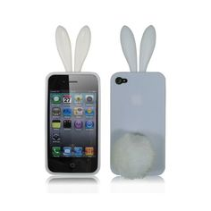 Bunny Rabit Silicone Case Skin for Iphone 4 Stand Tail Holder(White) - Cases & Skins - iPhone 4/4S - iPhone Accessories