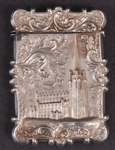 A GOOD VICTORIAN CALLING CARD CASE with cast decoration, church with spire in relief. Not Marked. Probably Nathaniel Mills.