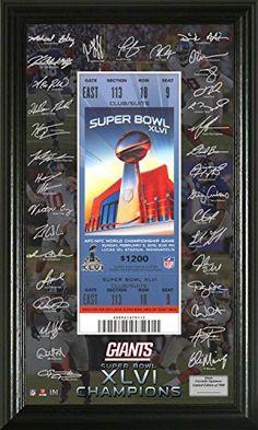 NFL New York Giants Super Bowl 46 Champions Signature Ticket Black 21 x 14 x 3 -- For more information, visit image link.