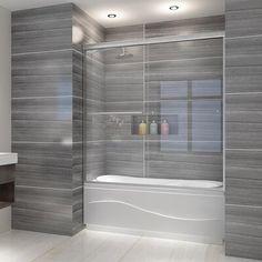"SUNNY 59"" W x 62"" H Semi-Frameless Shower Door | Wayfair Tub Shower Doors, Bathtub Doors, Frameless Sliding Shower Doors, Glass Shower, Bathtub Shower, Small Bathroom, Master Bathroom, Bathroom Ideas, Bathroom Tile Showers"