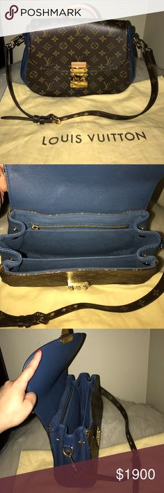 Louis Vuitton Discontinued Louis Vuitton Eden PM - Monogram Canvas/ Blue. Authentic. Used - in good condition. This purse is a Shoulder Bag/Hand Bag. It will come with two keys and dust bag & will go through Posh Concierge. Serious buyers only. No trades. Feel free to make an offer. Louis Vuitton Bags
