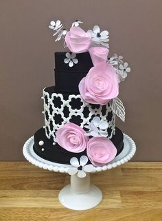 Pink, black and white beautiful cake: