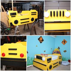 DIY Bulldozer Bed (just photos), but such a unique bed for a little boy